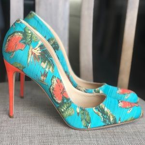 Designer's shoes NEW heels turquoise orange pumps